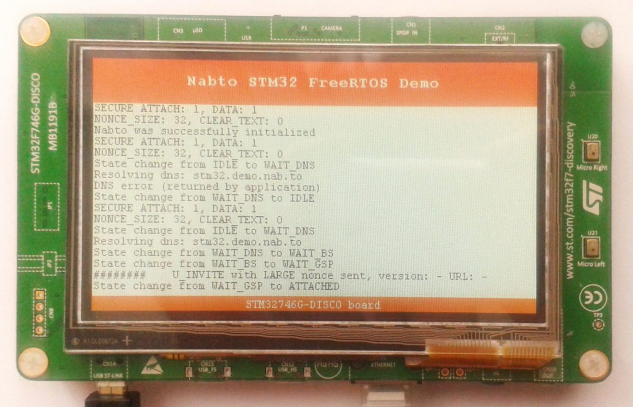 Nabto + FreeRTOS running on Cortex-M7 using the ST STM32F746G-DISCO