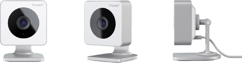 Image of the Y-cam camera from three angles