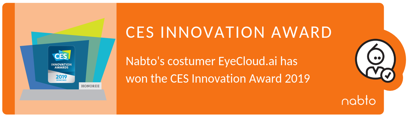 Banner of news about the Nabto customer, eyecloud.ai winning the CES Innovation award