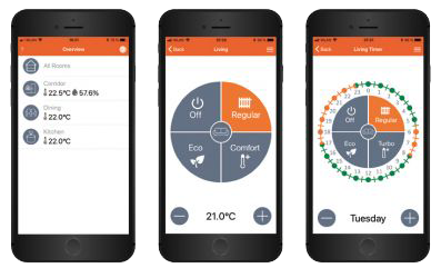 Image of three phones where SOREL's smart thermostat is used