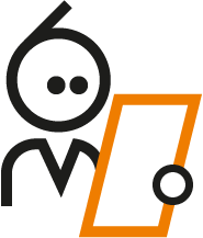 Icon of the Nabto man reading the P2P Explainer to figure out what p2p means